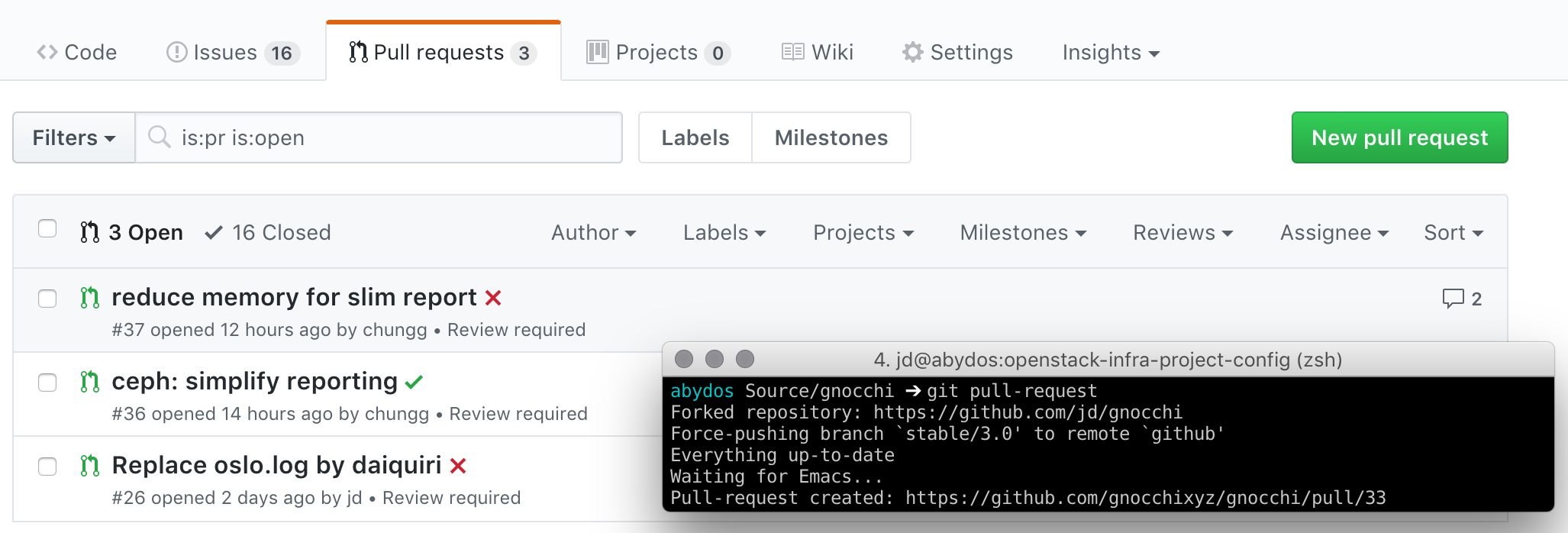 Sending GitHub pull-request from your shell