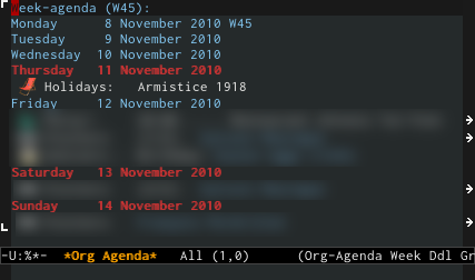 Org-mode and holidays